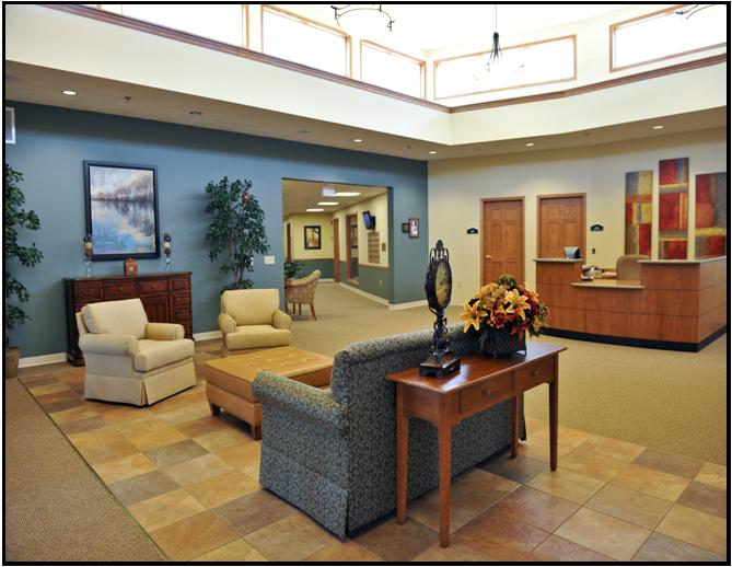 Courtyard Terrace Lobby | Nebraska Senior Living | Assisted Living